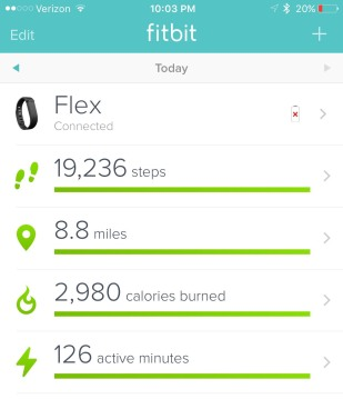 FitBit activity tracker steps calories exercise