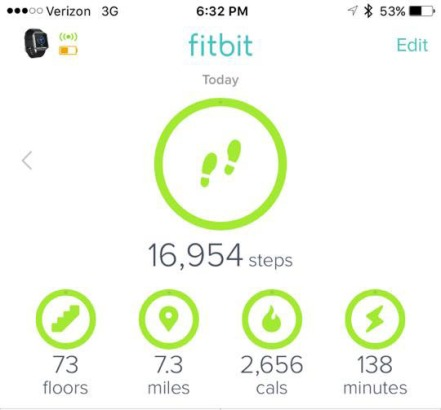 FitBit hiking steps miles tracking