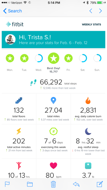 fitbit results exercise tracker